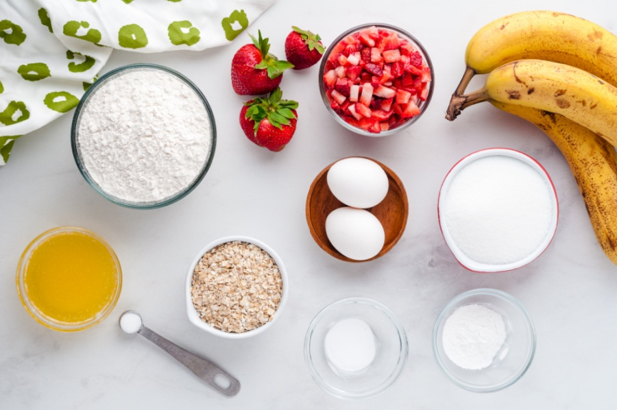 ingredients for strawberry banana bread