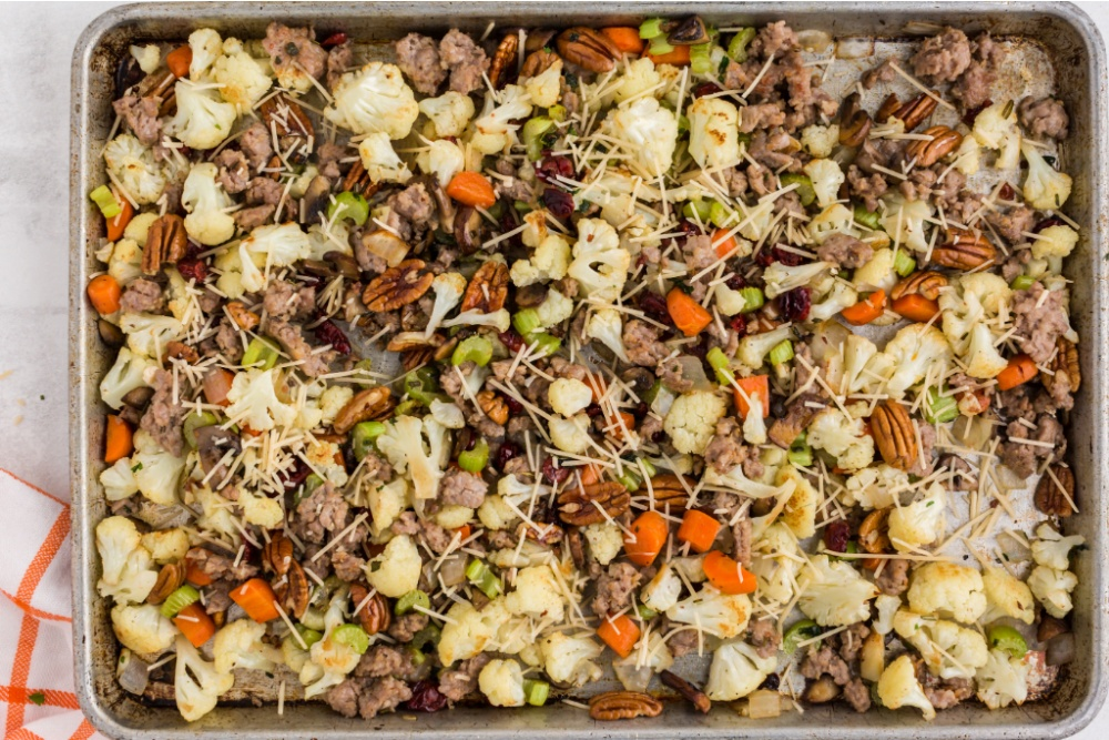 savory cauliflower stuffing on a sheet pan