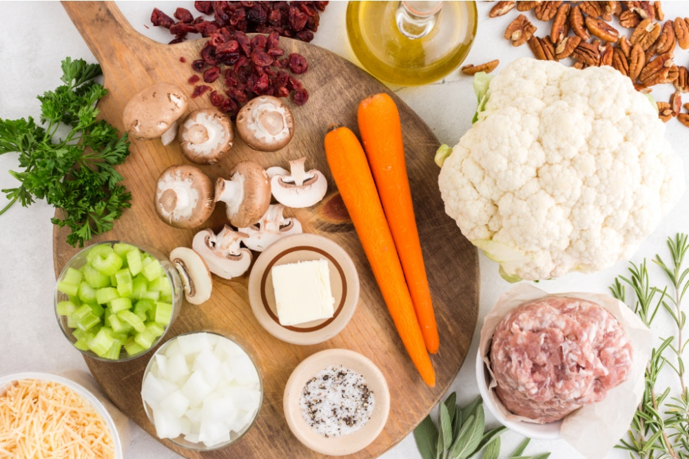 ingredients for savory cauliflower stuffing