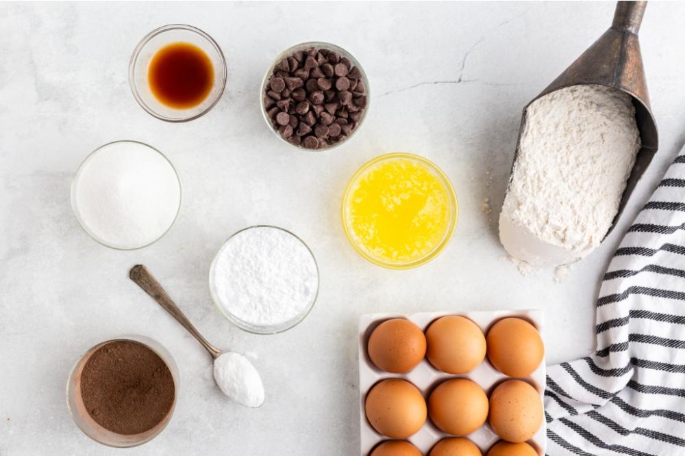 ingredients for chocolate crinkle cookies