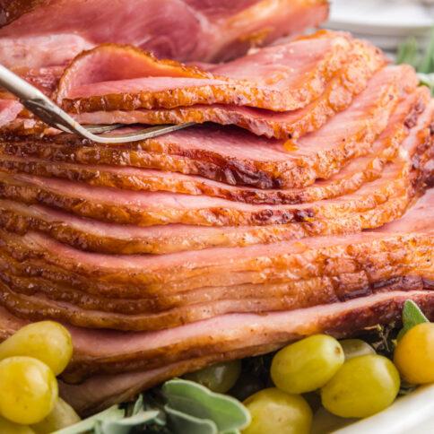 Copycat Honey Baked Ham on a serving platter