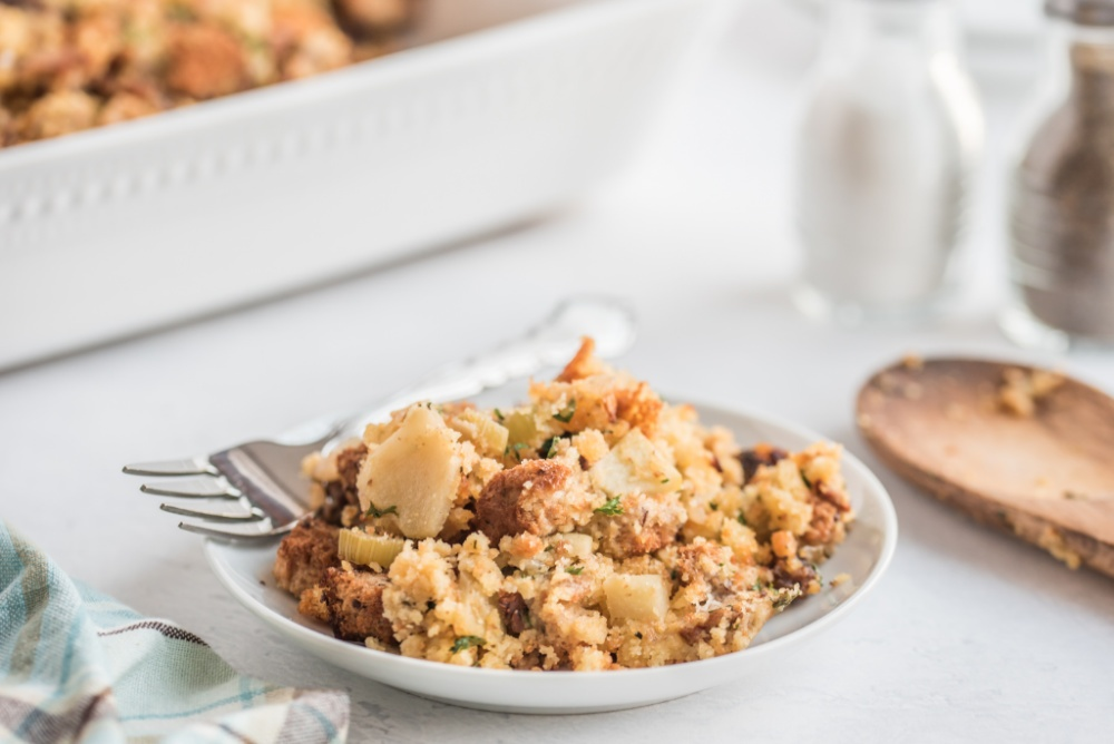 cornbread stuffing on a plate