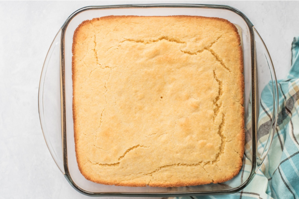 cooked cornbread in a baking dish