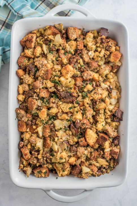 cornbread stuffing in a baking dish