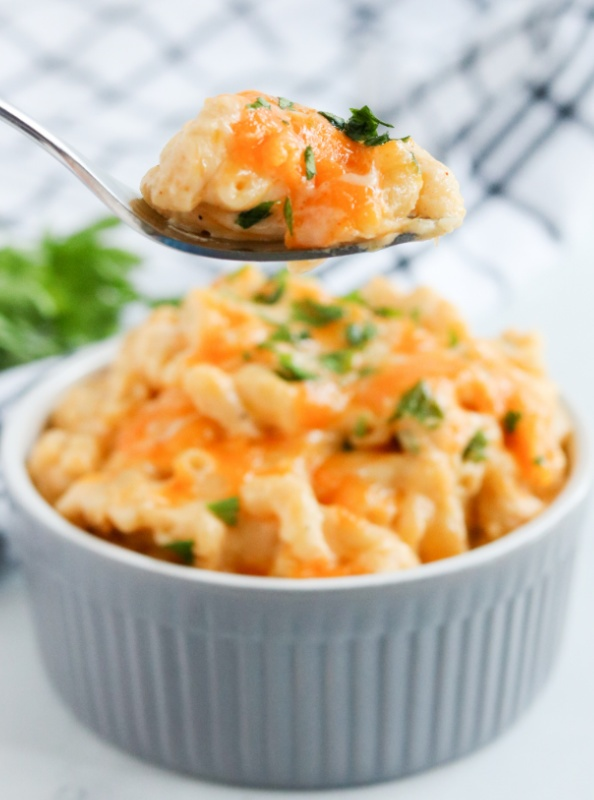 spoon with a scoop of mac and cheese