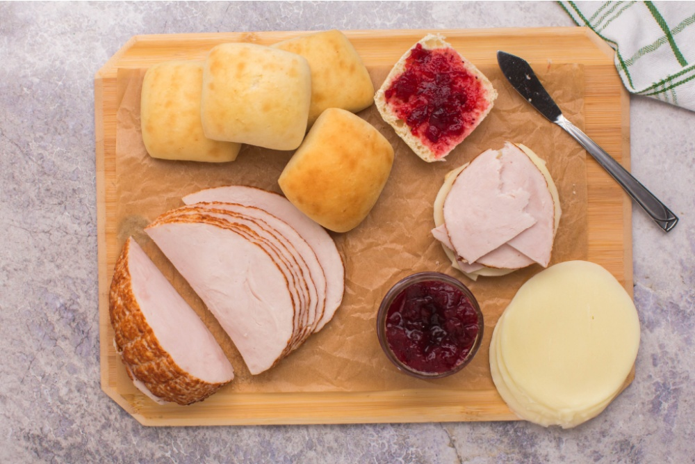 ingredients for mini turkey sliders on cutting board