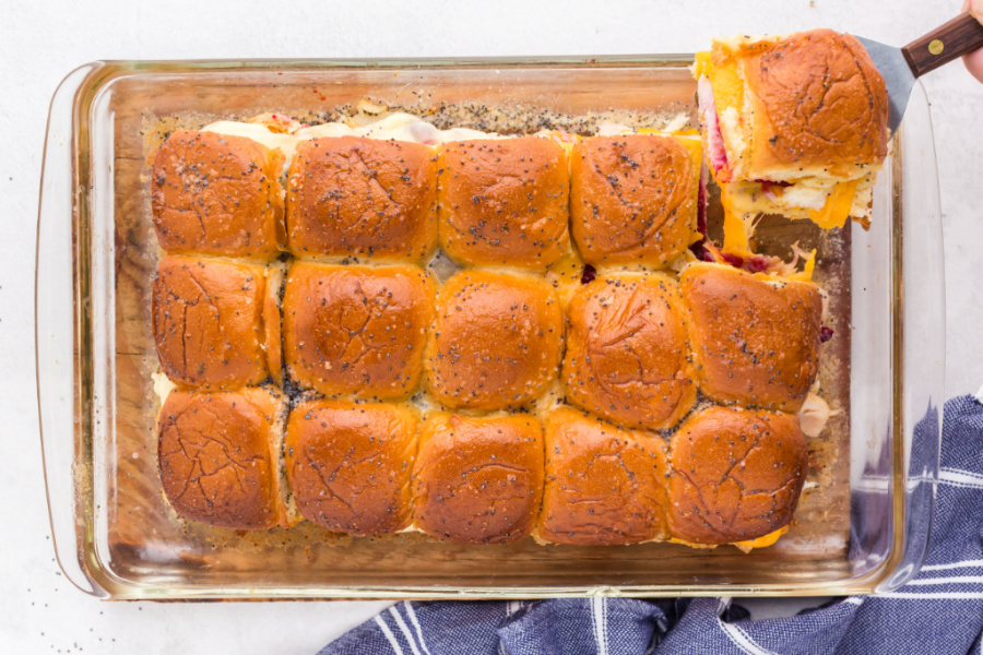 cooked Thanksgiving Turkey Sliders in a baking pan