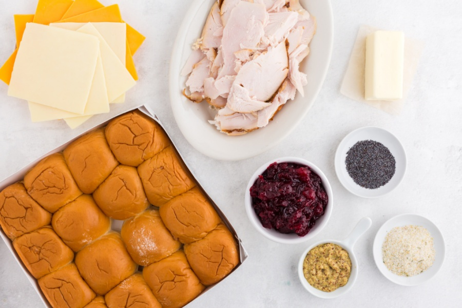 Ingredients for Leftover Thanksgiving Turkey Sliders