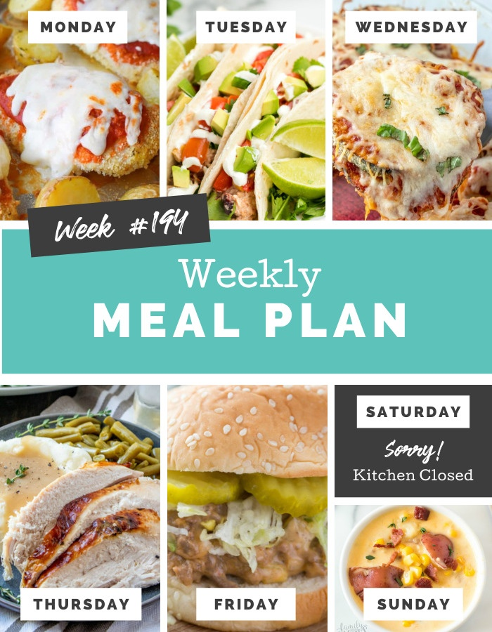 Welcome back to another Easy Weekly Meal Plan Week 194. There are a lot of yummy and easy recipes for you to try out this week! via @familyfresh