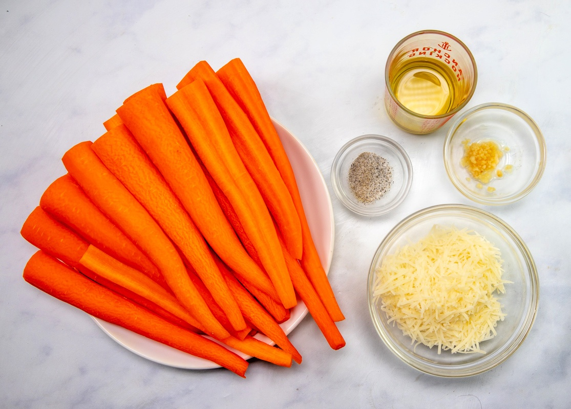 ingredients for parmesan roasted carrots