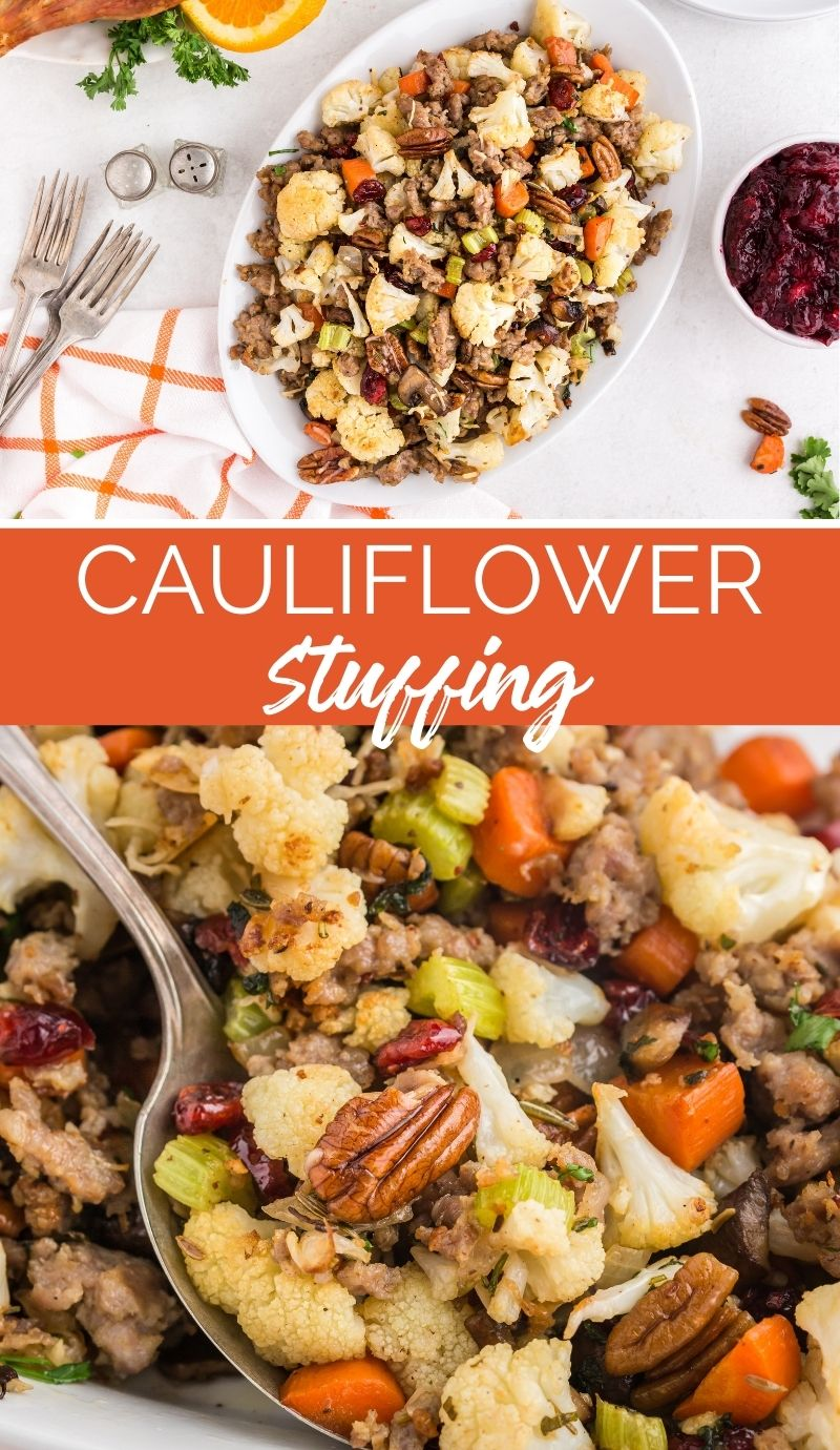 This Savory Cauliflower Stuffing tastes exactly like stuffing. It's loaded with all the traditional flavors of onion, herbs, sausage, veggies, cranberries and nuts. via @familyfresh