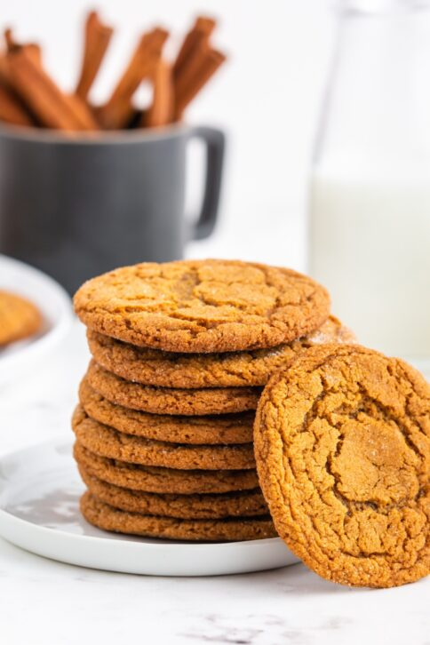 Chewy Gingersnap Cookies stacked on a plate