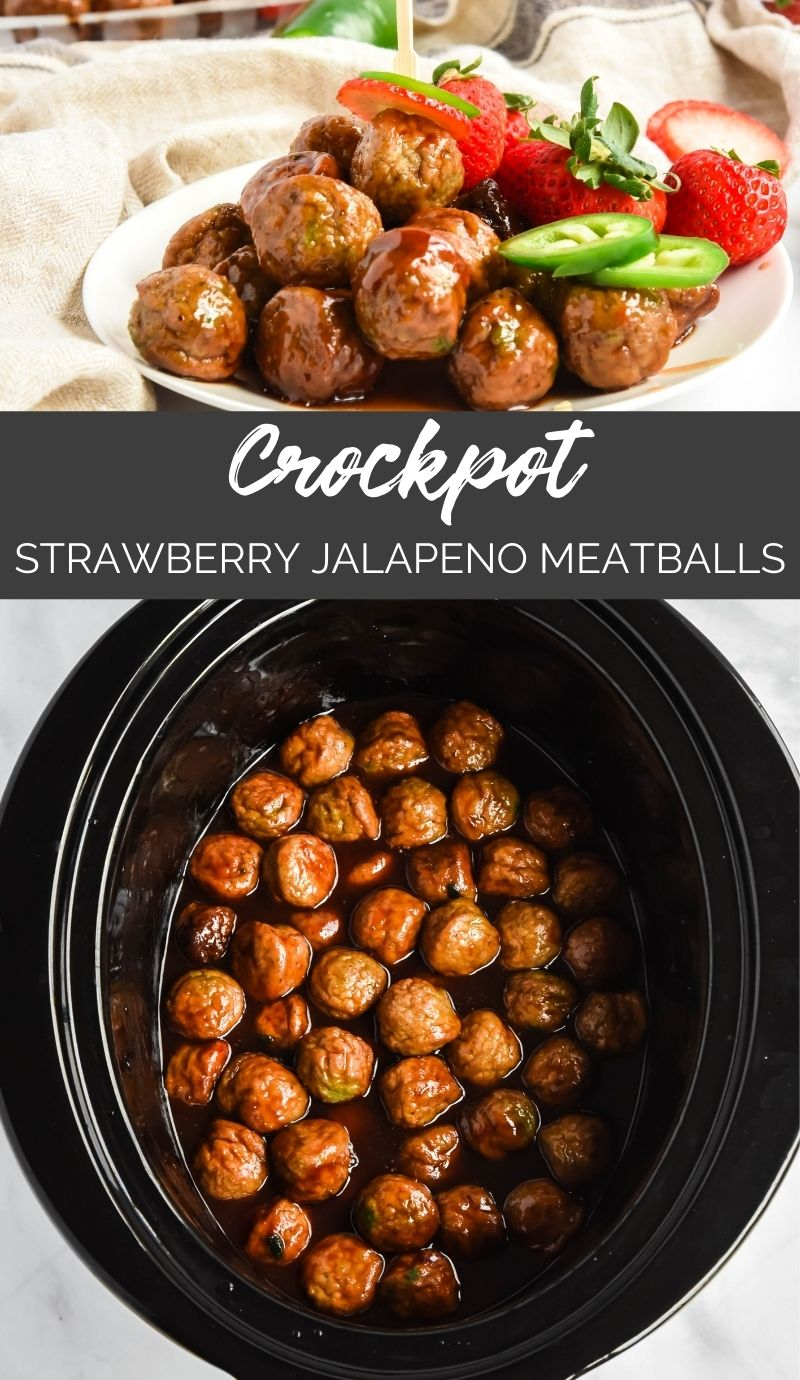 These Crockpot Strawberry Jalapeno Meatballs have sweetness from the strawberry,heat from the jalapeno, and a tangy note from the BBQ sauce. via @familyfresh