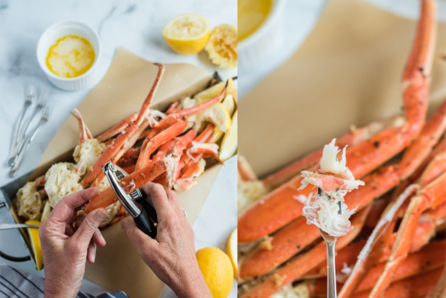two images show how to break open crab legs and pull out meat