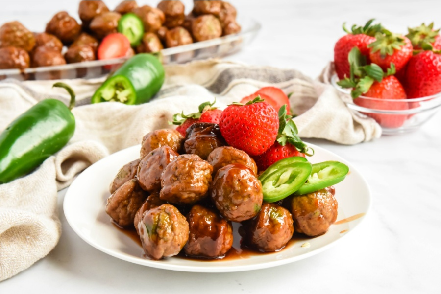 Strawberry Jalapeno Meatballs on a white plate