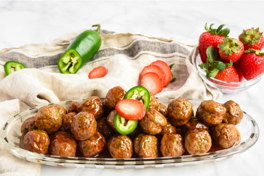Strawberry Jalapeno Meatballs on a serving platter