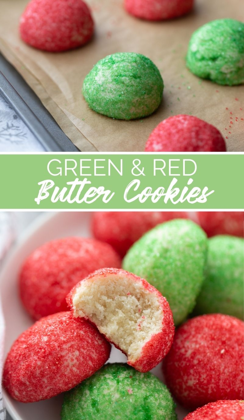These Green and Red Butter Cookie Balls are fun, delicious and an easy batch of cookies that the kids can help make. via @familyfresh