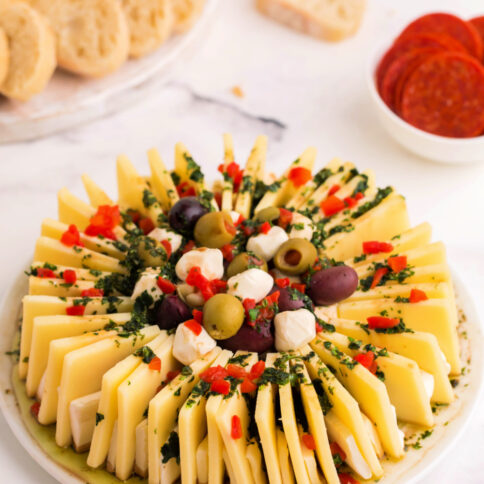Marinated Cheese Ring on a white plate
