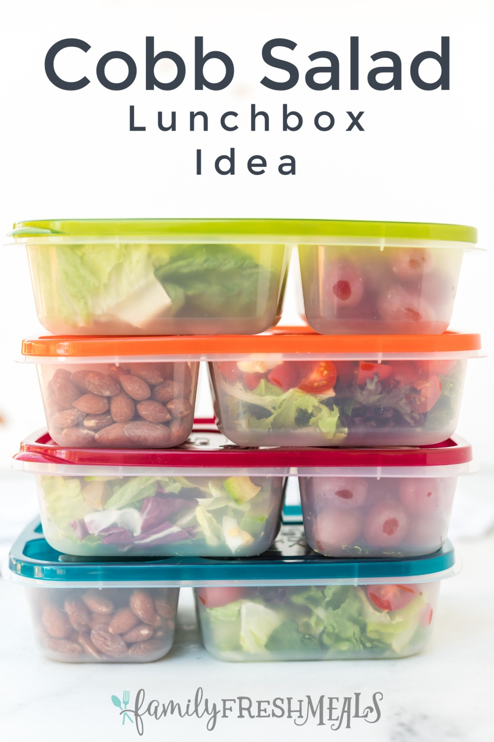 4 lunchboxes stacked on top of each other with words on top saying Cobb Salad Lunchbox Idea