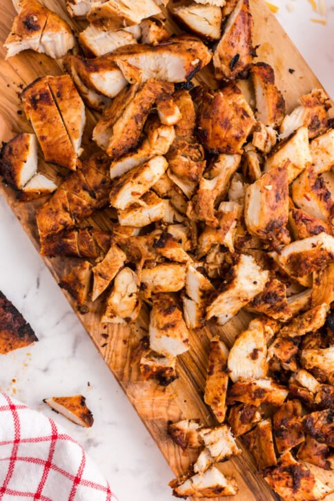 Chipotle Chicken cut up on a cutting board