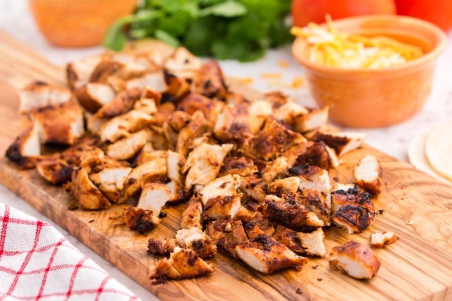 chicken cut of on a cutting board