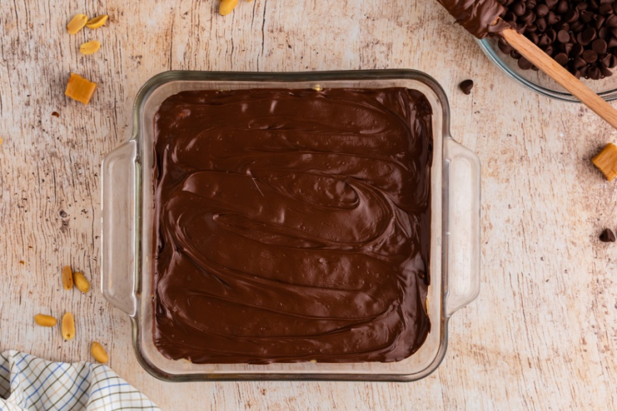 layer of melted chocolate added to the top