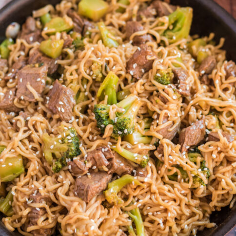 Take Out Beef and Broccoli Ramen Noodles in a cast iron pan