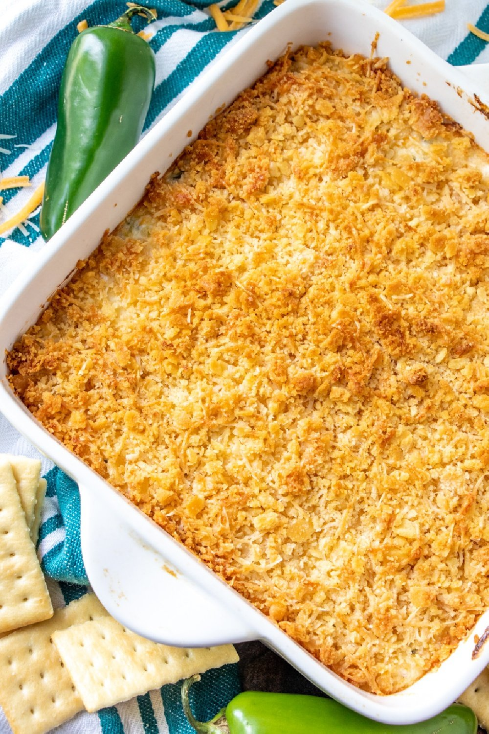 Baked Jalapeno Dip in a white baking dish