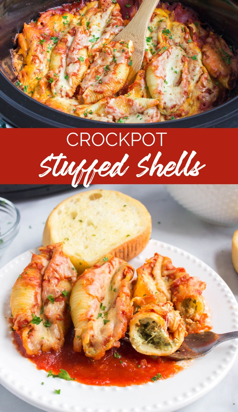 This Crockpot Stuffed Shells recipe is a meal the whole family will love. It's so easy to make, and leftovers can be frozen for later. via @familyfresh