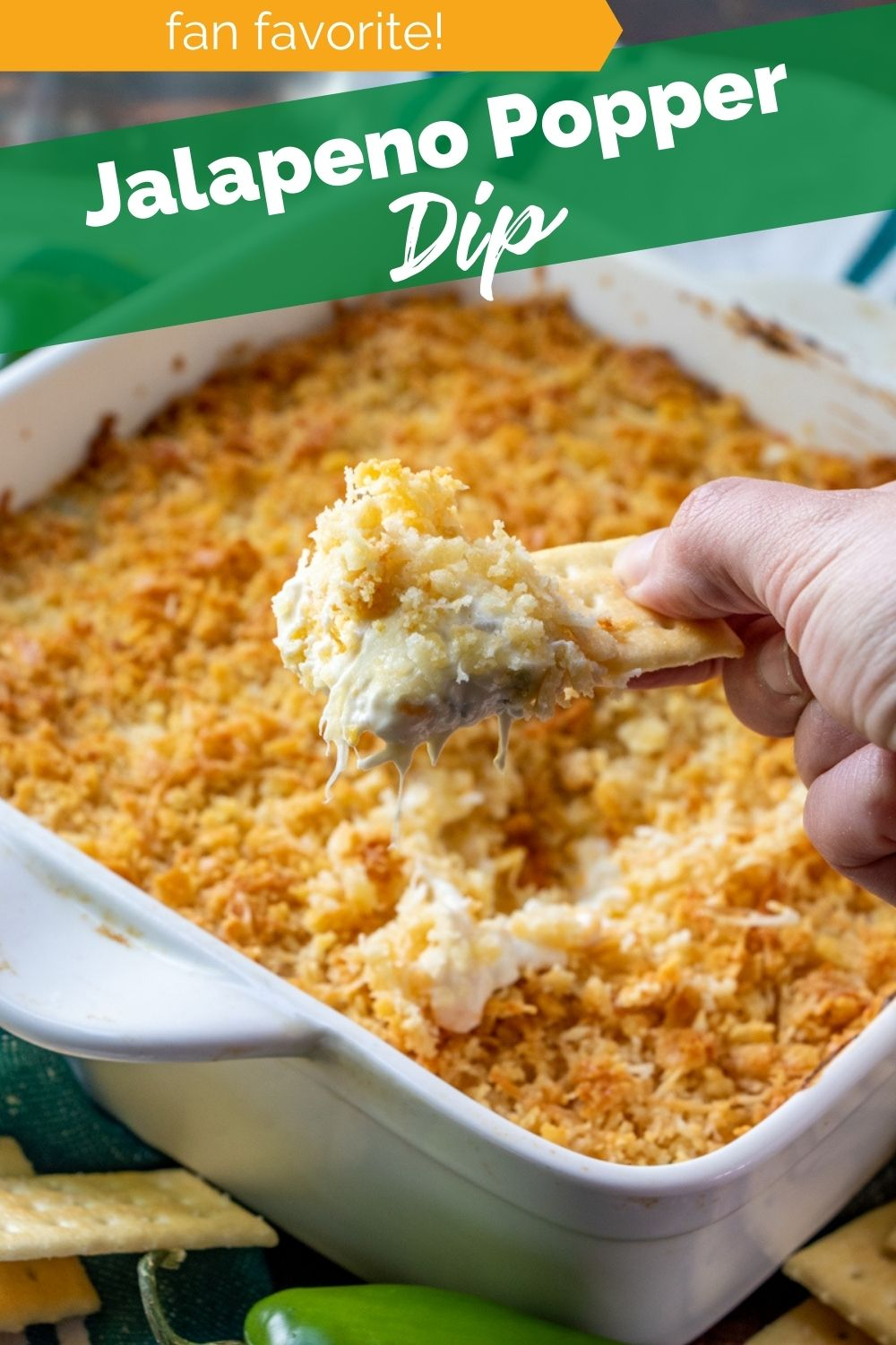 My Easy Baked Jalapeno Popper Dip has the spicy, cheesy combo I loved so much, but much easier to make than your standard Jalapeno Popper. via @familyfresh