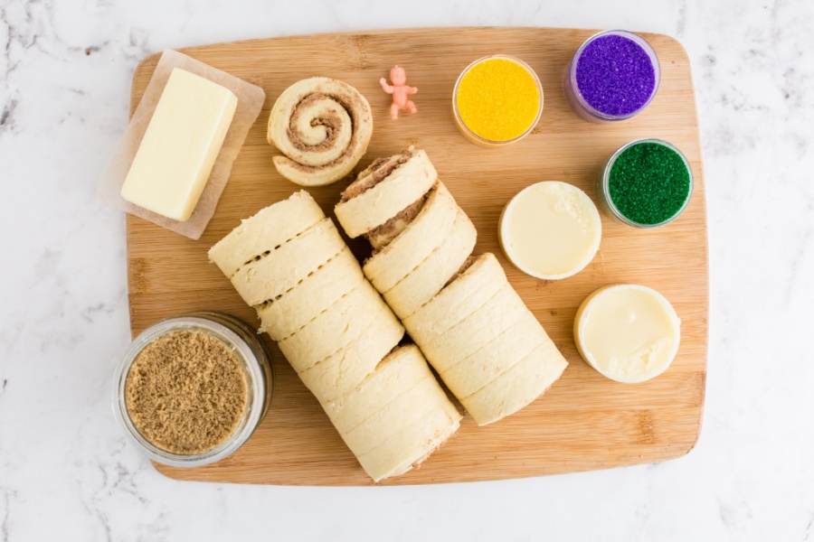 ingredients for easy king cake recipe on cutting board