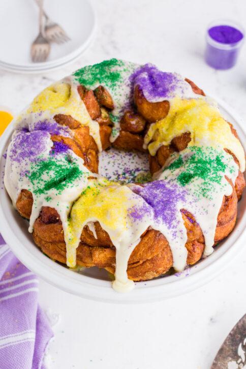 king cake on a white platter