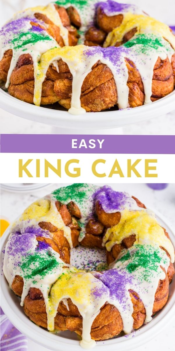 Don't have time to make a traditional King Cake? My Easy King Cake recipe using cinnamon rolls as a base and topped with sweet vanilla icing. via @familyfresh