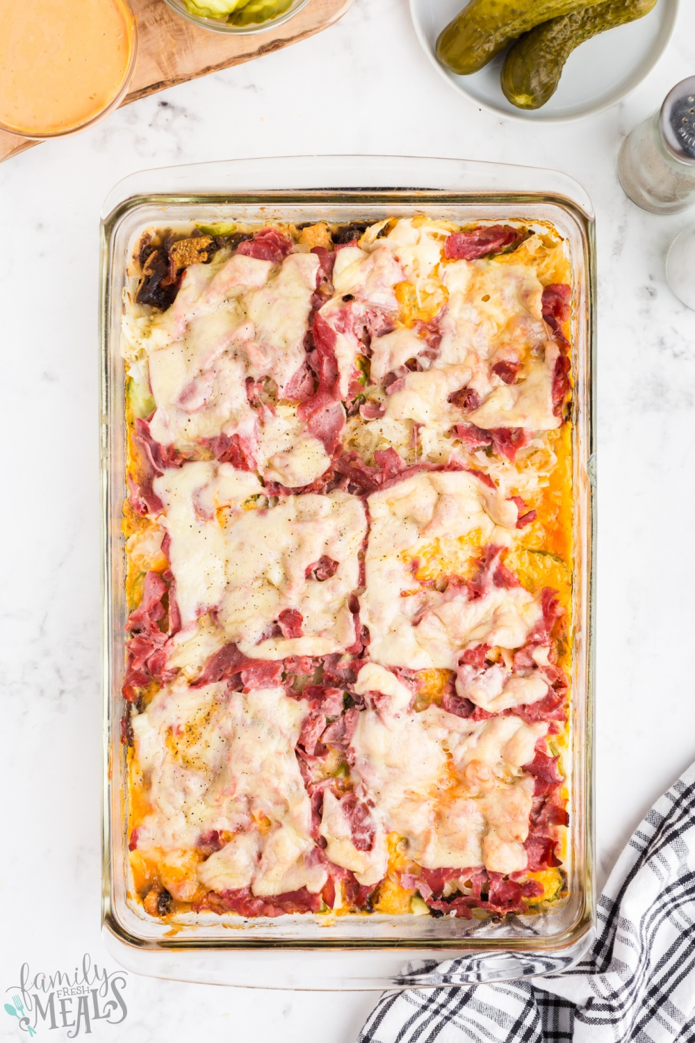 This Reuben Casserole turns a classic sandwich into an easy family-size casserole meal. All your favorite Rueben ingredients are in this dish via @familyfresh
