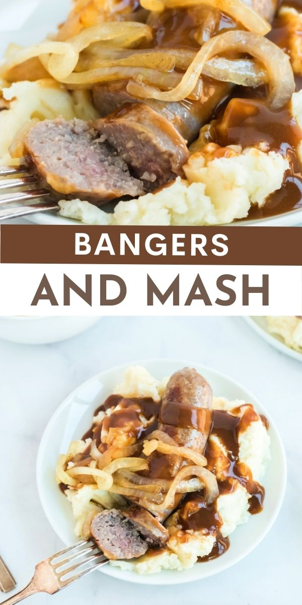 Bangers and Mash is a traditional British comfort food. It includes sausages nestled on a bed of hot, buttery and fluffy mashed potatoes. via @familyfresh