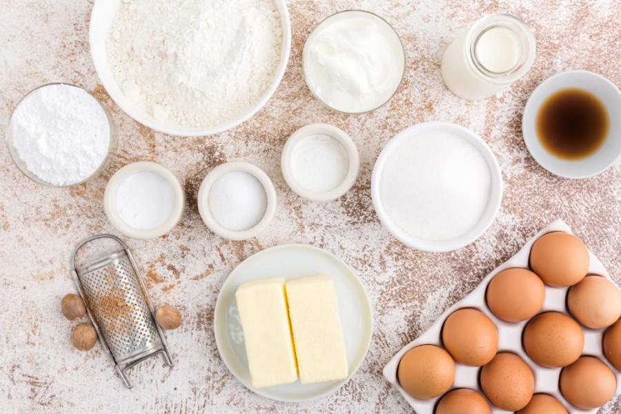 ingredients for Buttermilk Donut Bundt Cake
