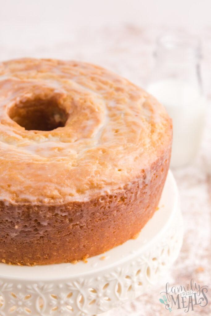 Buttermilk Donut Bundt Cake on a white platter