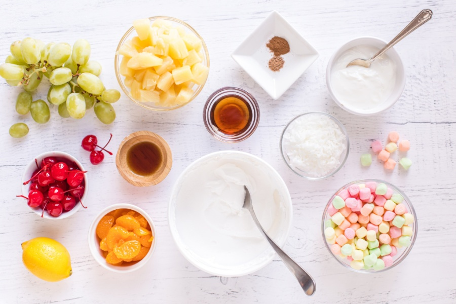 ingredients for classic ambrosia salad