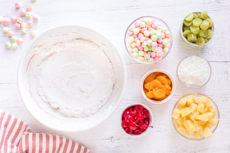 Greek yogurt, lemon juice, maple syrup, vanilla extract, cinnamon, and nutmeg in a large bowl
