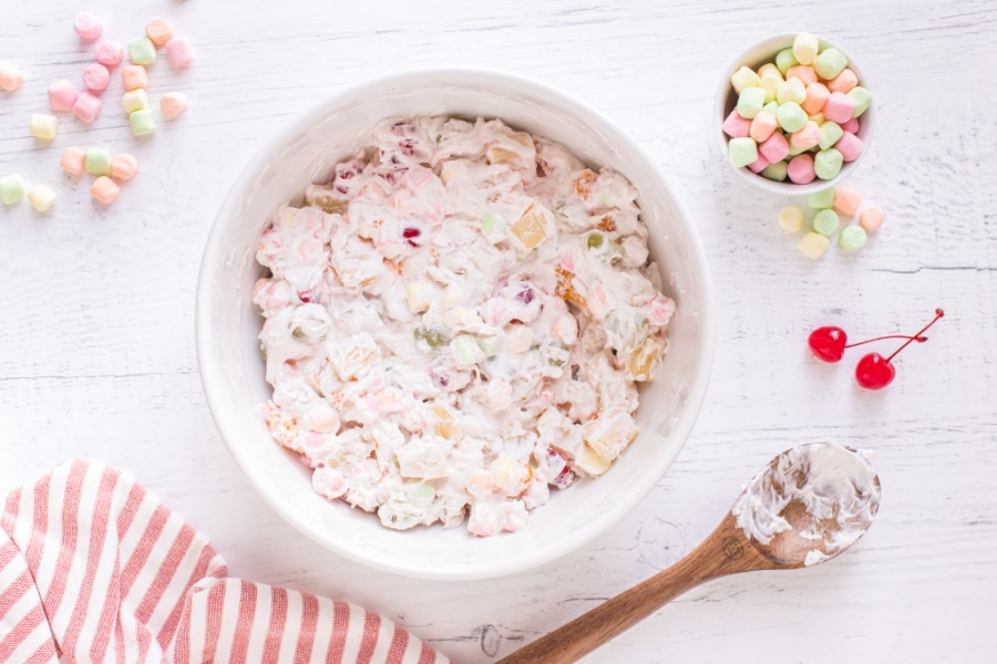 ambrosia salad in a large mixing bowl