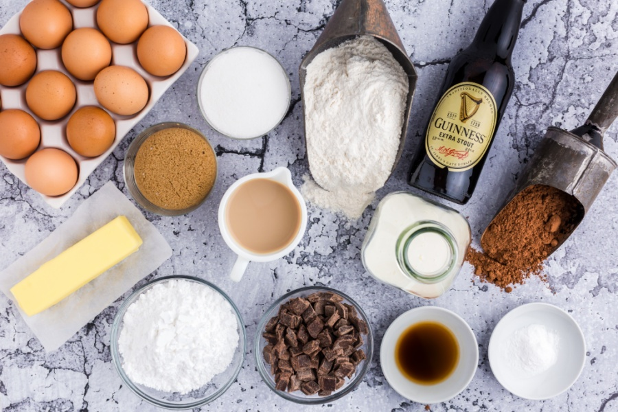 ingredients for Guinness Chocolate Bread