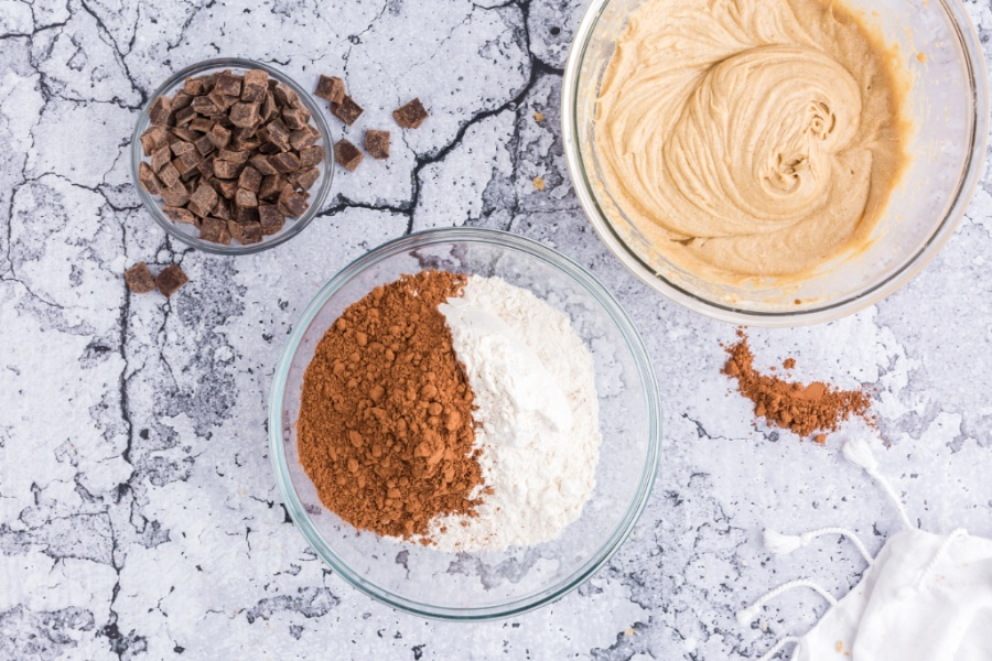 flour, cocoa powder, and baking soda in a separate mixing bowl