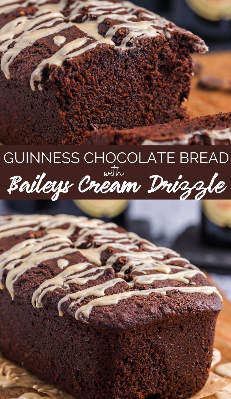 This Guinness Chocolate Bread with Bailey's Drizzle is the perfect sweet treat for St. Patrick's day. Moist, creamy and full of flavor. via @familyfresh