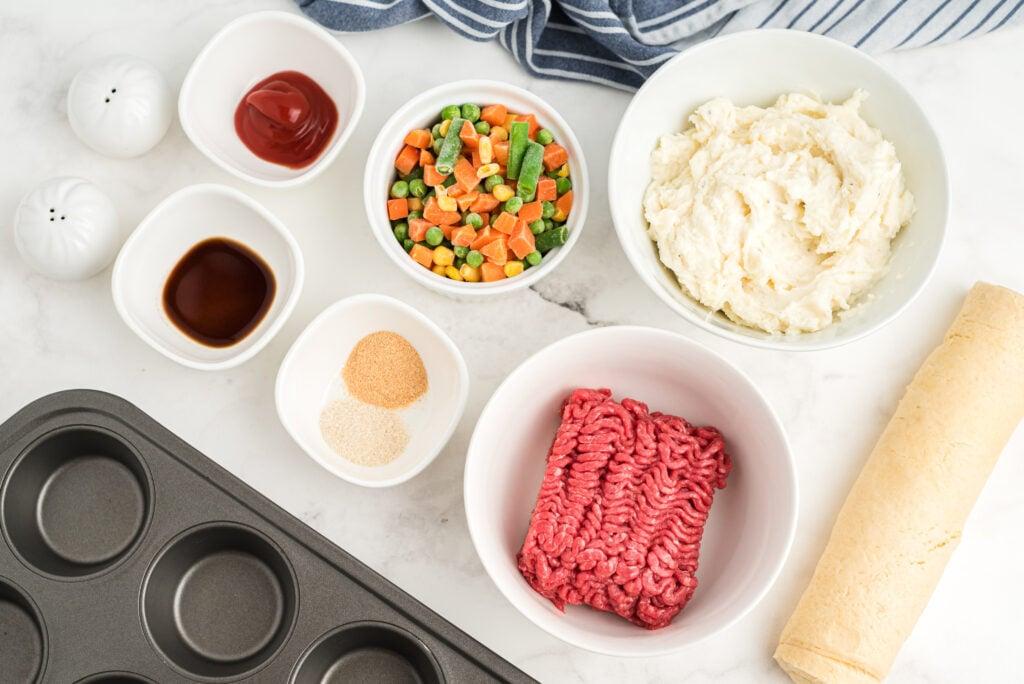 ingredients for mini shepherds pie