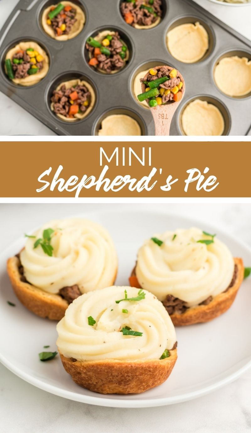 These Mini Shepherd's Pies have a beautiful golden bottom crust, a delicious savory filling, and a lovely pillow of potato over the top. They're a tasty treat for St. Paddy's Day or any day you're feeling a little Irish. via @familyfresh