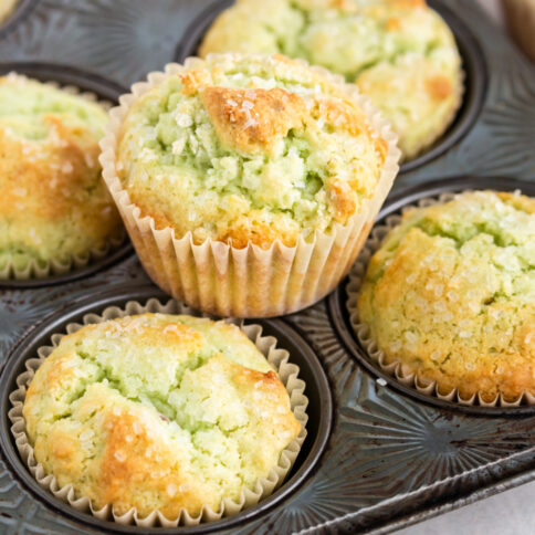 Pistachio Muffins in a muffin pan