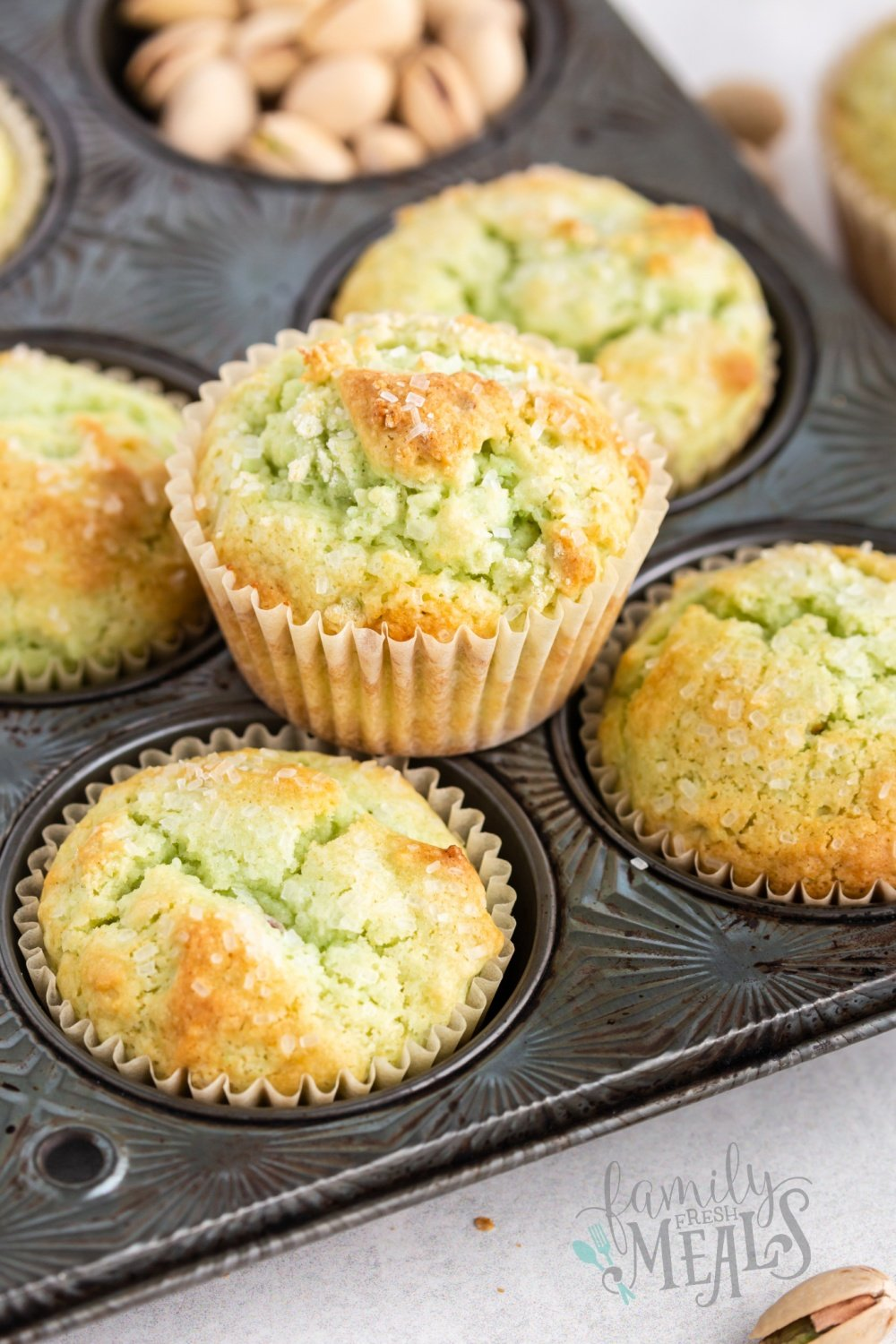 Flavorful and fun, these green Pistachio Muffins are effortless to make and you also have the option of adding real pistachios if you wish. via @familyfresh