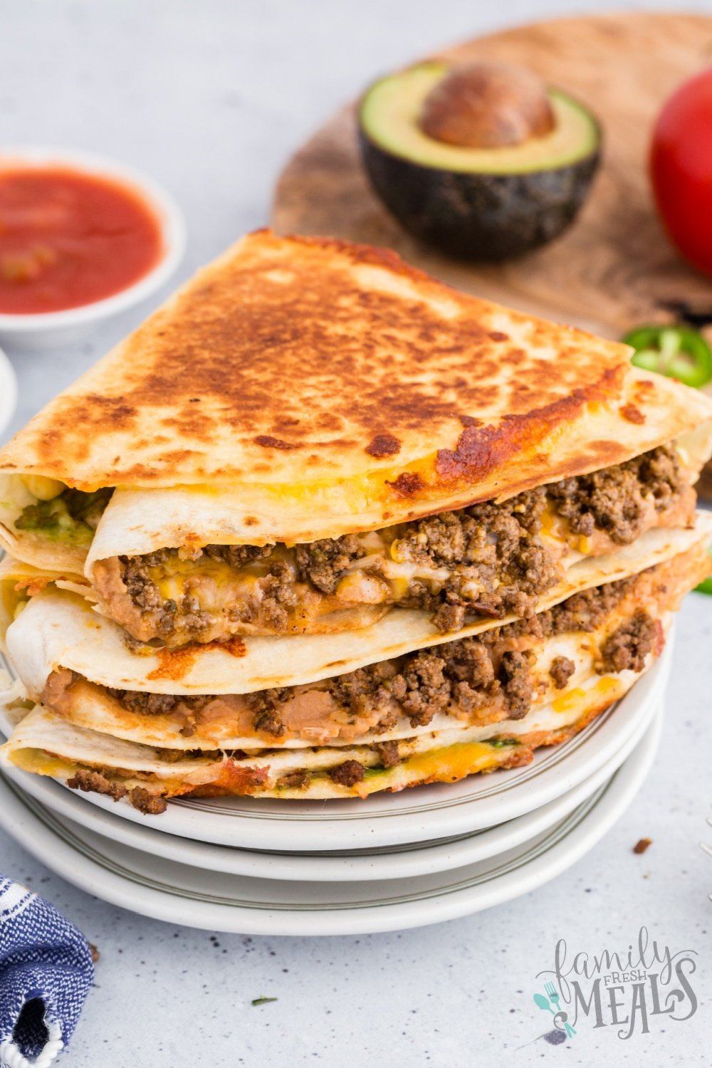 You will love these Tik Tok Famous Taco Quesadillas. Each quadrant of the tortilla holds a different taco ingredient for maximum flavor! via @familyfresh