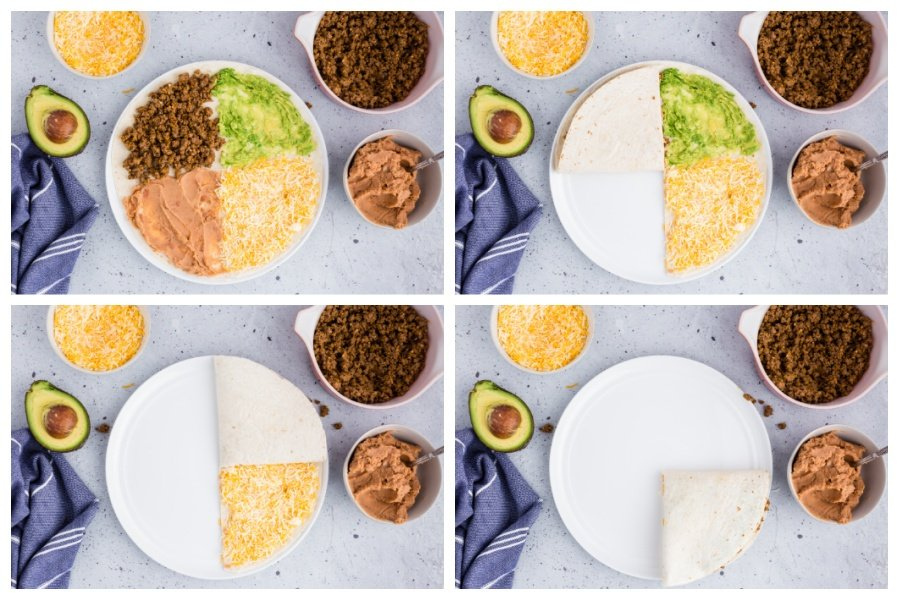 showing steps of how to fold Tick Tok quesadilla