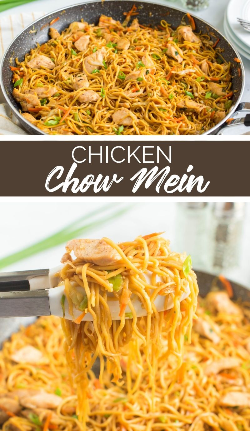 This Chicken Chow Mein is a Chinese dish loaded with tender chicken, crunchy veggies, soft noodles, and delicately spiced sauce. via @familyfresh